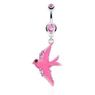316L Surgical Steel Belly Ring with Pink Colored Enamel Swallow with Accent Cubic Zirconia on Wings Dangle   14G (1.6mm), 3/8'' Bar Length   Sold Individually Jewelry