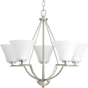 Progress Lighting Bravo Collection 5 Light Brushed Nickel Chandelier P4623 09