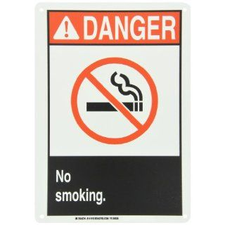 "Brady 141910 14"" Width x 10"" Height B 555 Aluminum, Red and Black on White Sign, Header ""Danger ANSI"", Legend ""No Smoking"" (with Picto) Industrial Warning Signs"