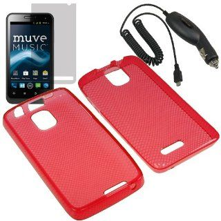 Eagle TPU Sleeve Gel Cover Skin Case for Cricket ZTE Engage LT N8000 + LCD + Car Charger Red Cell Phones & Accessories
