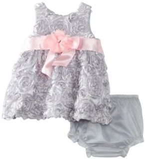 Rare Editions Baby Girls Newborn Soutach Dress, Silver, 0 3 Months Clothing