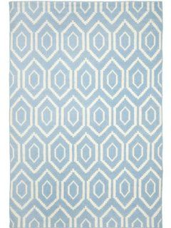 Safavieh Dhurrie Collection DHU556B 8 Handmade Wool Area Rug, 8 by 10 Feet, Blue/Ivory
