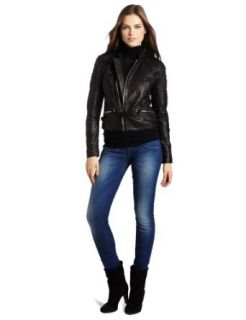 G Star Raw Women's Aviator Leather Jacket, Black, Medium Leather Outerwear Jackets