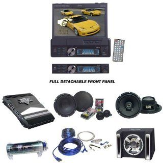 Lanzar Car DVD Player, Amplifier, Speaker, Bass Box Package   SDBT73N 7'' Single Din In Dash Motorized Touch Screen TFT/LCD Monitor With DVD/CD//MPEG4/USB/SD/AM/FM/RDS Receiver   VCT2110 1000 Watt 2 Channel High Power MOSFET Amplifier   Pair of