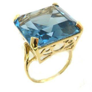 Luxury Solid 14K Yellow Gold Huge Heavy Square Octagon cut Synthetic Aquamarine Ring   Finger Sizes 5 to 12 Available   Perfect Gift for Birthday, Christmas, Valentines Day, Mothers Day, Mom, Mother, Grandmother, Daughter, Graduation, Bridesmaid. Jewelry