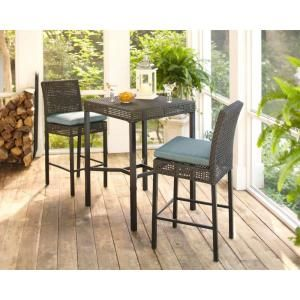Hampton Bay Fenton 3 Piece Patio High Bar/Bistro Set with Peacock and Java Cushion D9131 BISTRO