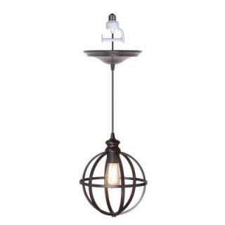 Worth Home Products 1 Light Brushed Bronze Instant Pendant Light Conversion Kit and Globe Cage Shade PBN 4034 0011