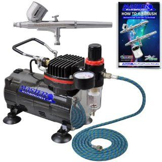 Master Airbrush Brand High Performance Multi purpose Gravity Feed Dual action Airbrush Kit with 6 Foot Hose and a Powerful 1/5hp Single Piston Quiet Air Compressor The Complete Set Now Includes a (FREE) How to Airbrush Training Book to Get You Started