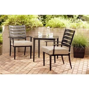 Hampton Bay Marshall 3 Piece Patio Bistro Set with Textured Silver Pebble Cushions HD14300