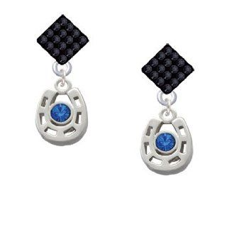 Small Silver Horseshoe with Blue Crystal Center Stone Jet Black Crystal Diamo Jewelry