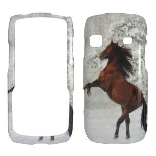 Samsung Replenish M580   Beautiful Horse Snow and Tree Shinny Gloss Finish Hard Plastic Cover, Case, Easy Snap On, Faceplate. Cell Phones & Accessories