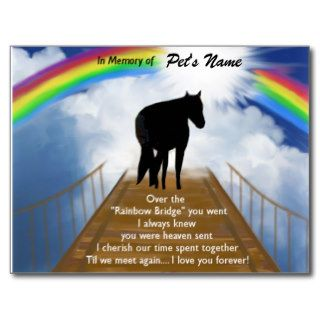 Rainbow Bridge Memorial Poem for Horses Post Card