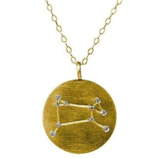"Yellow Gold Plated Sterling Silver Cubic Zirconia Aries Constellation Necklace, 18"" Jewelry"