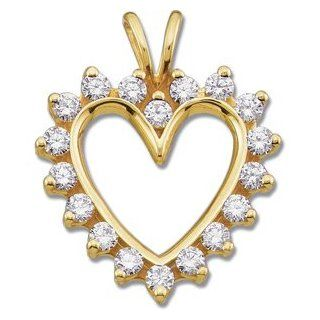 14K Yellow Gold Diamond Heart Pendant Jewelry