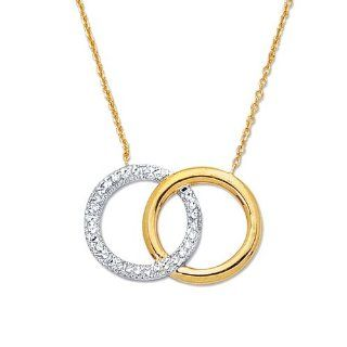 "14K Real Yellow White Gold Diamond Cut Open Circle of Life Charm Necklace 18"" Chain Necklaces Jewelry"