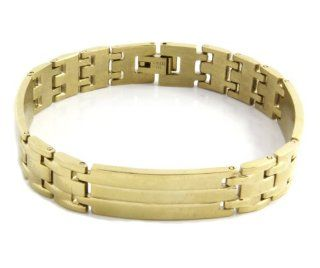 Men's Heavy Gold Plated Solid Stainless Steel Chain Link Bracelet 8 Inches GSTB 572 Jewelry