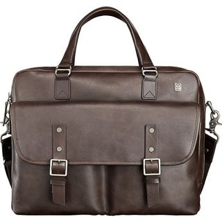 T Tech by Tumi Forge Tamarack Top Zip Leather Brief Brown   Tumi Non Wheele