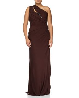 Sequin Inset One Shoulder Draped Gown, Chocolate
