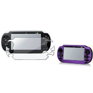 eForCity Purple Aluminum / Plastic Case with FREE Reusable Screen Protector compatible with Sony Playstation Vita Video Games
