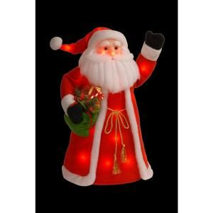 National Tree Company 30 in. Red Cotton Standing Santa with Red Shirt and Long Coat Holding Presents with 30 Red Flashing Indoor LED Lights MZCS 302 30 A