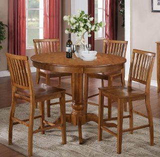 Steve Silver Candice 5 Piece Round Counter Table Set in Oak   Dining Room Furniture Sets