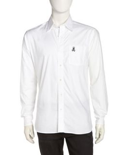 Long Sleeve Poplin Sport Shirt, White