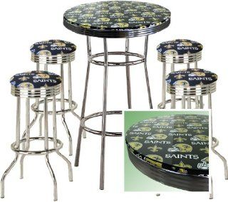 NEW ORLEANS SAINTS FOOTBALL Glass Top Chrome Bar Pub Table Set With 4 Swivel Bar Stools   Home Bars