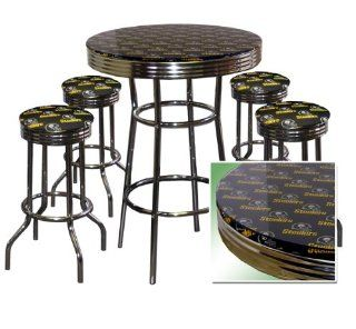 Pittsburgh Steelers 5 Piece Chrome Glass Pub Bar Table Set 4 Swivel Bar Stools   Dining Tables