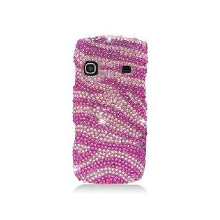 Samsung Replenish M580 SPH M580 Bling Gem Jeweled Jewel Crystal Diamond Pink Zebra Stripes Cover Case Cell Phones & Accessories