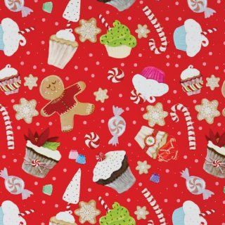 Jillson Roberts Recycled Christmas Gift Wrap, Cupcake Christmas, 6 Count (XR605)  Gift Wrap Paper