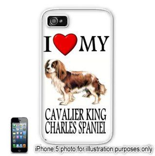 Cavalier King Charles Spaniel Love My Dog Apple iPhone 5 Hard Back Case Cover Skin White Cell Phones & Accessories