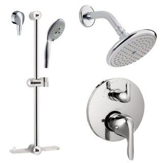 "Hansgrohe HG T202 Chrome E E Shower Faucet with Thermostatic Trim, Volume Control & Diverter Trim, Metal Lever Handles, 24"" Wall Bar, Shower Arm, Single Function Shower Head and Multi Function Hand Shower Less Valve HG T202   Shower Arms And Slide"