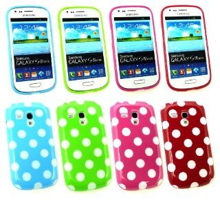Emartbuy� Samsung Galaxy S3 Mini I8190 Bundle Pack of 4 Polka Dots Gel Skin Cover/Case Green, Hot Pink, Red & Blue Cell Phones & Accessories