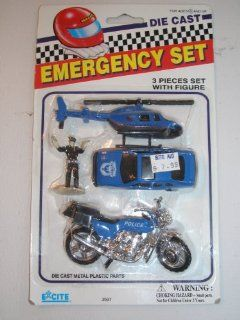 Emergency Rescue Set of Die Cast Vehichles Navy Blue Motor Cycle, Hilicopter, Paramedic & Police Car By Excite Toys & Games