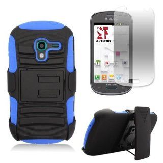 [SlickGearsTM] Black/Blue Heavy Duty Combat Armor Kickstand Holster Case for Samsung Galaxy Exhibit SGH T599 (T Mobile, MetroPCS) + Premium Screen Protector Cell Phones & Accessories