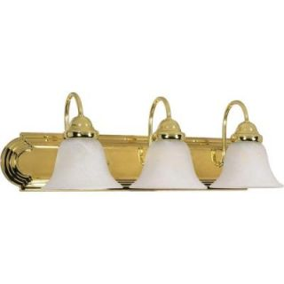Glomar Ballerina 3 Light Polished Brass Vanity with Alabaster Glass Bell Shades HD 329