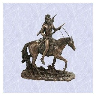 bear claw the indian warrior statue on horse sculpture  Native American Statues And Sculptures