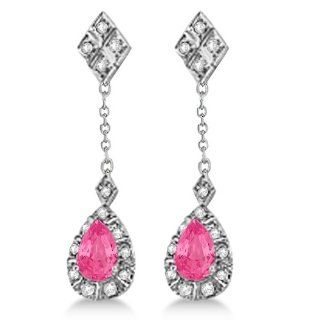 Diamond and Pink Tourmaline 14K White Gold Dangling Gemstone Earrings for Women 1.72tcw Jewelry