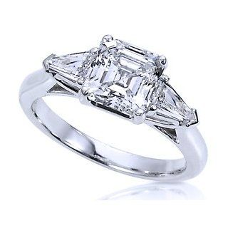 1.50 Ct Genuine Asscher Diamond Engagement Wedding Ring 14K Gold (1.00 Ct Center E   F / VS1   VS2) Jewelry