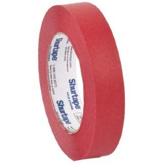 "Pratt Plus CP 632 Shurtape Commercial Premium Heavy Duty Paper Masking Tape, 22 lbs/inch Tensile Strength, 60 yds Length x 1"" Width, 3"" Core, Red (Pack of 12)"