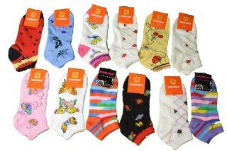 12 Pairs Ladies Fun Print Everbright Ankle Socks Assorted Styles Sz 9 11   Crazy Ankle Socks