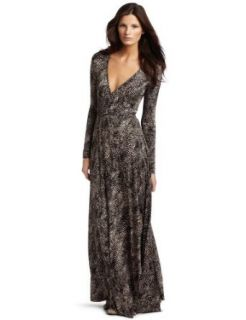 Rachel Pally Women's Long Wrap Print Dress, Black Snake, X Small