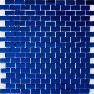 Susan Jablon Mosaics   5/8 Inch Cobalt Blue Mirrored Glass Subway Tile