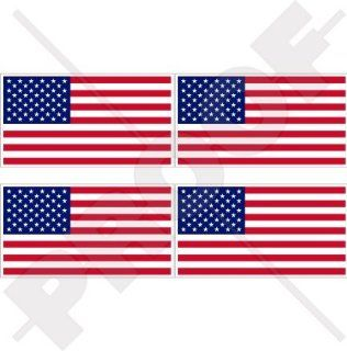 "USA United States America Flag American 2"" (50mm) Vinyl Bumper Helmet Stickers, Decals x4"