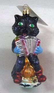 "RADKO Tom ""Cats"" Waller Black Cat Accordion Player Halloween Glass Halloween Ornament Made in Poland   Decorative Hanging Ornaments"