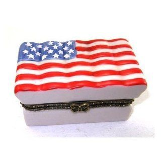 American Flag Stars & Stripes Red, White & Blue Porcelain Hinged Trinket Box   Decorative Boxes