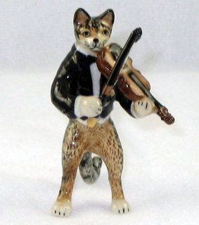 CAT Tiger Grey n TUX Musician plays VIOLIN MINIATURE New Porcelain Figurine KLIMA L657E   Collectible Figurines