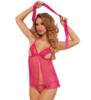 Seven til Midnight 9900P 3 Piece Stretch Lace And Mesh Open Cup Babydoll