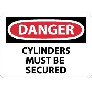 "NMC D635RB OSHA Sign, Legend ""DANGER   CYLINDERS MUST BE SECURED"", 14"" Length x 10"" Height, Rigid Plastic, Black on White Industrial Warning Signs"