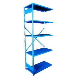"Equipto 665W5A V Grip 18 Gauge Heavy Duty Steel Open Shelf Add On Unit with 5 Shelves, 450 lbs Shelf Capacity, 48"" Width x 84"" Height x 24"" Depth, Regal Blue Tool Utility Shelves"